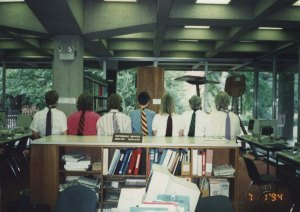 """Necktie"" event at Tutt Library, 1994. Schooldesk in background."