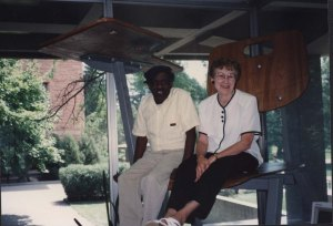 Library staff Jessie Brown and Rita Edgington in the giant chair, August 1993.
